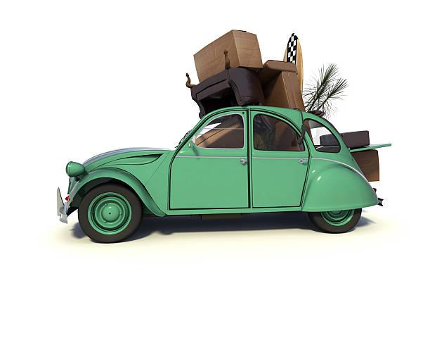 überladene moving auto - kleinmöbel stock-fotos und bilder