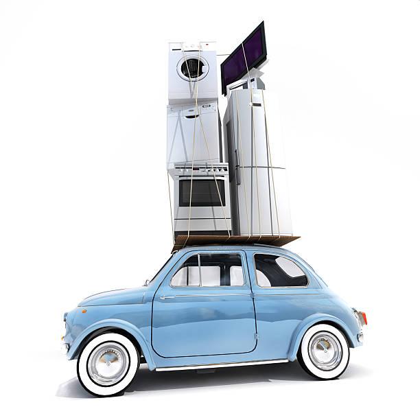 überladene retro auto - umzug transport stock-fotos und bilder