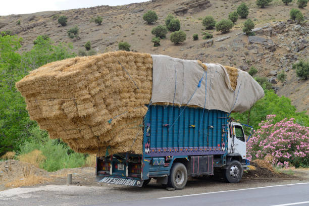 overloaded truck staying on road - overflowing stock photos and pictures