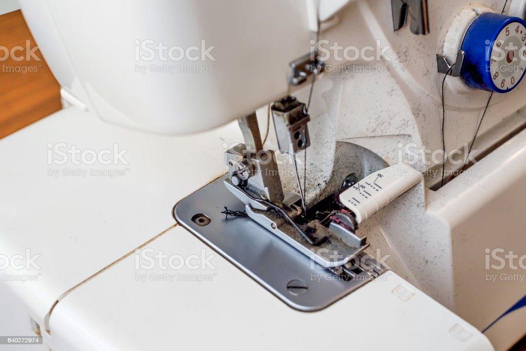 Overlock sewing machine stock photo
