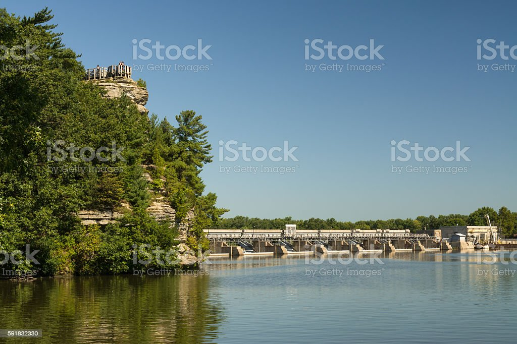 Overlook and dam on the Illinois River. stock photo