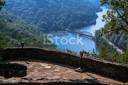 Overlook of the New River with bridge at Hawks Nest State Park in West Virginia.