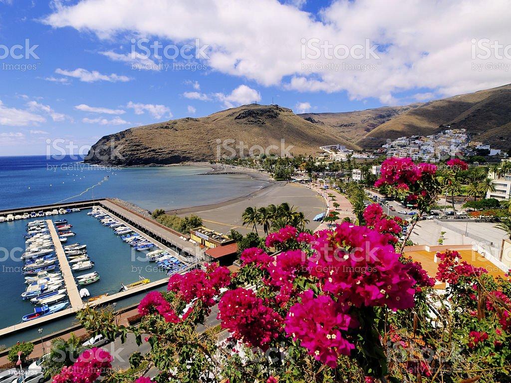 Overlook of beautiful beach from mountain at San Sebastian stock photo