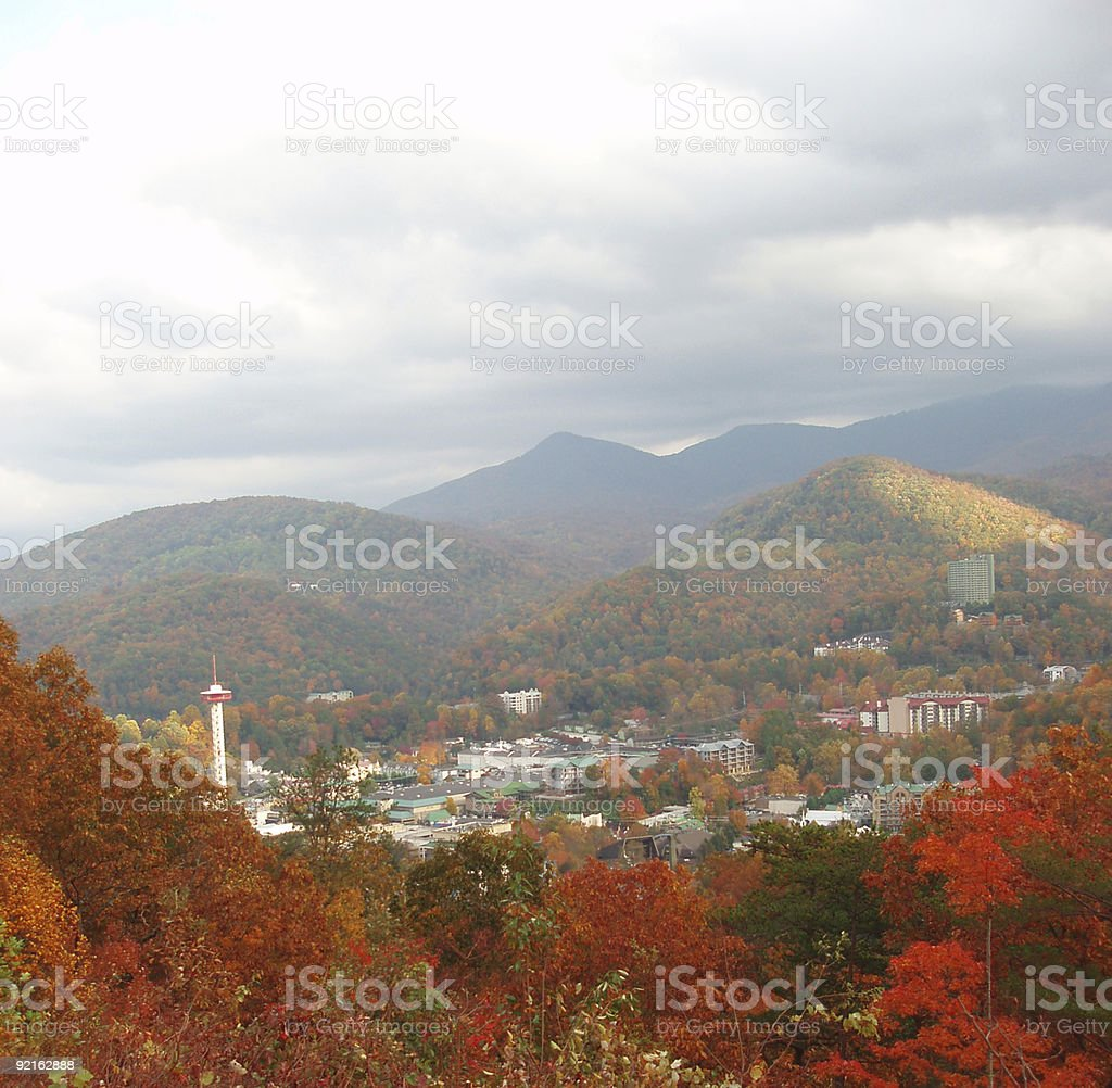 Overlook of Gatlinburg in Autumn stock photo