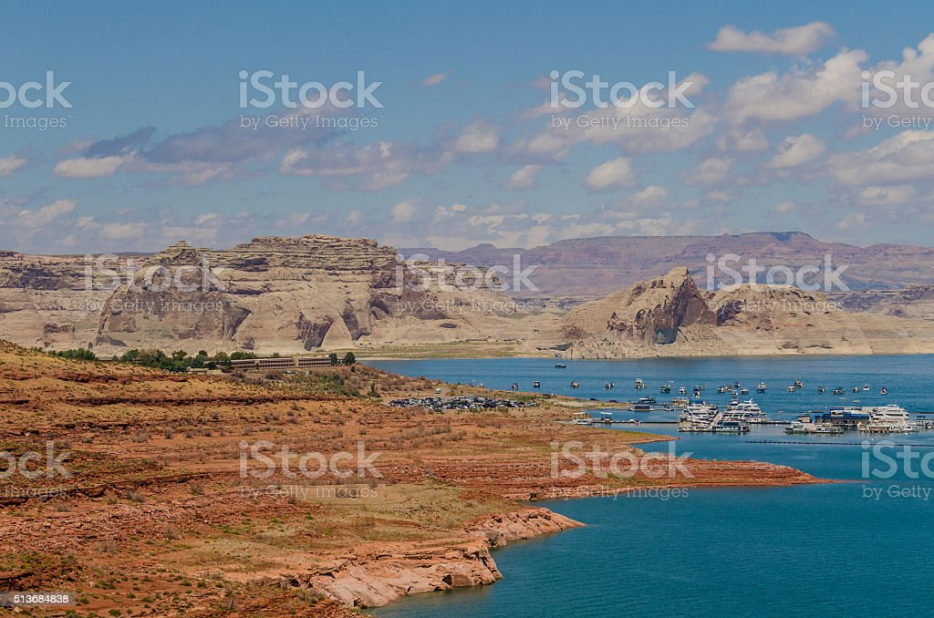 Overlook of Lake Powell with Boats and Canyons in Background stock photo