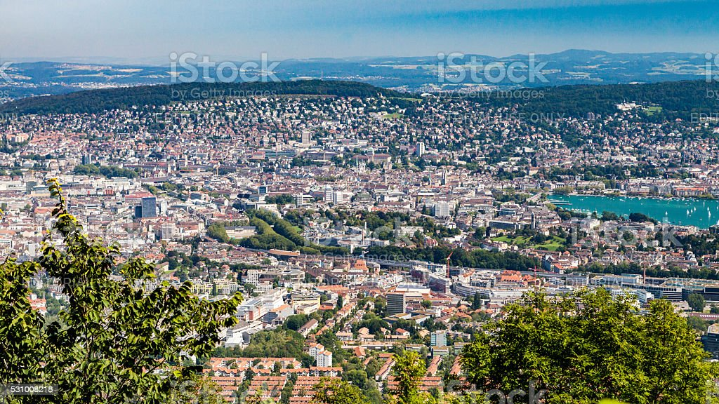 Overlook of the bay area of Zurich stock photo