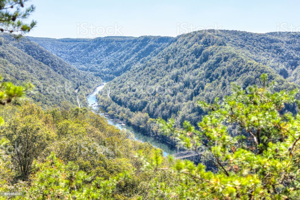 Overlook of West Virginia green mountains in spring, summer or autumn fall at New River Gorge Bridge stock photo