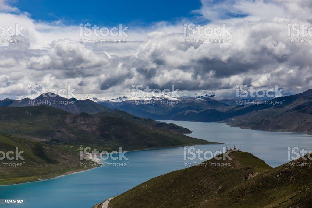 Overlook of Yamdrok Lake in Tibet stock photo