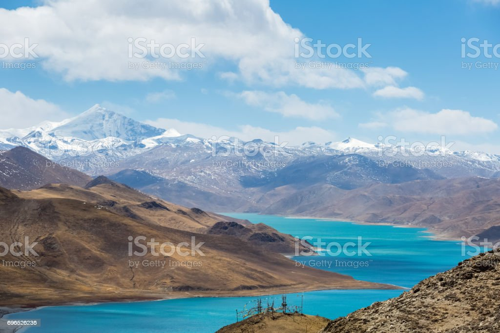 overlook snow mountain and holy lake stock photo