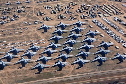 Overlook The Aircraft Boneyard Davismonthan Air Force Base Stock Photo - Download Image Now