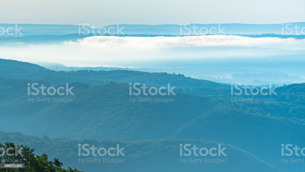 Overlook to Lehigh Gap from Flagstaff, Jim Thorpe (Mauch Chunk) stock photo