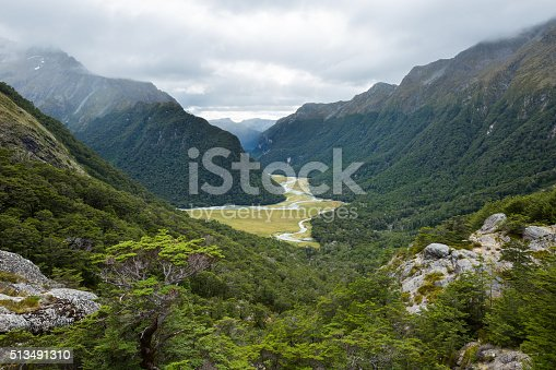 istock overlook view of Routeburn Valley from above Routeburn Falls 513491310