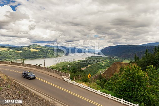 Overlook view of the Columbia River gorge from the Vista House, Oregon, USA.