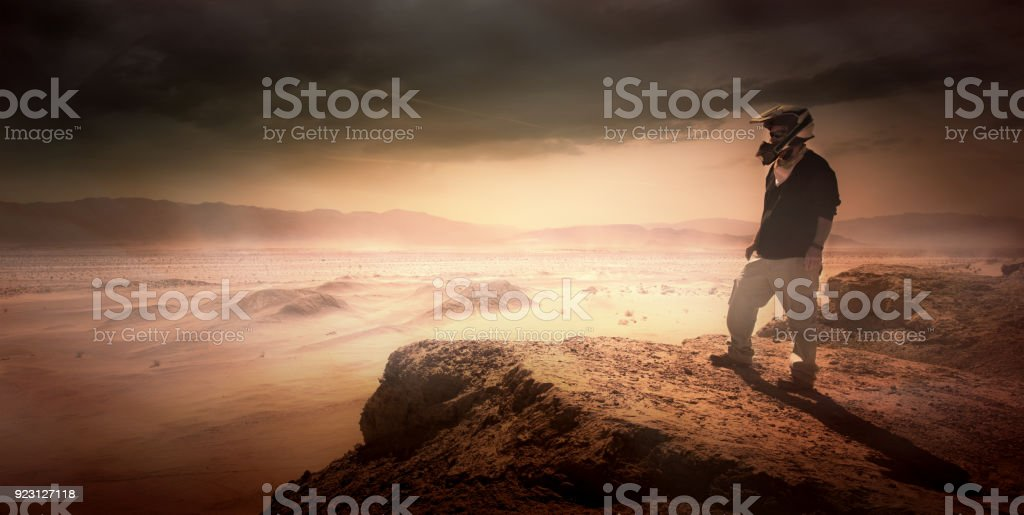Overlooking a Desert Landscape in California stock photo