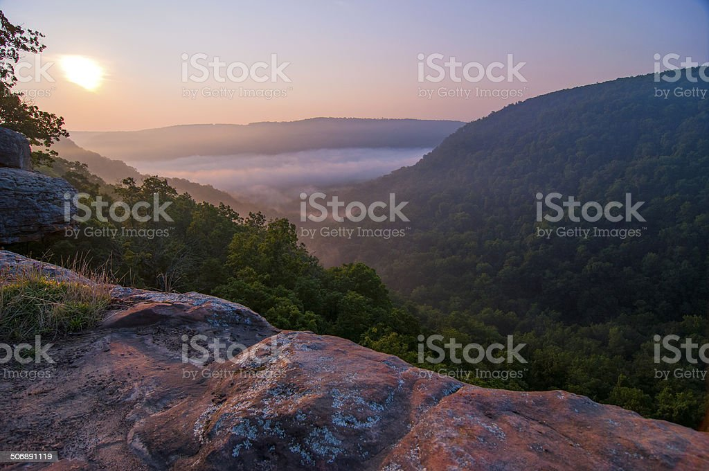 Overlooking a National Forest in Arkansas stock photo