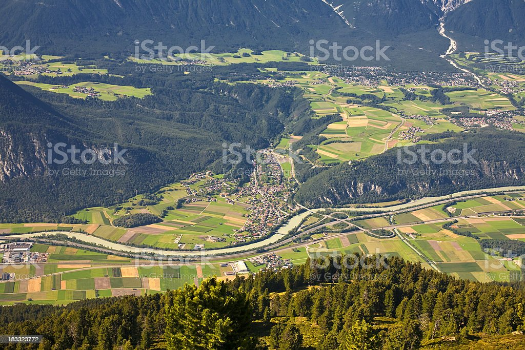 overlooking a valley in the alps royalty-free stock photo