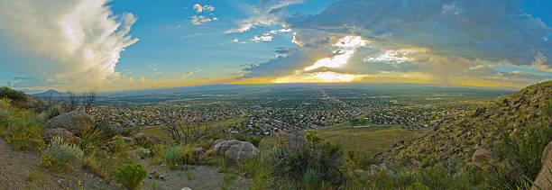 Overlooking Albuquerque from Sandia Foothills at Sunset stock photo