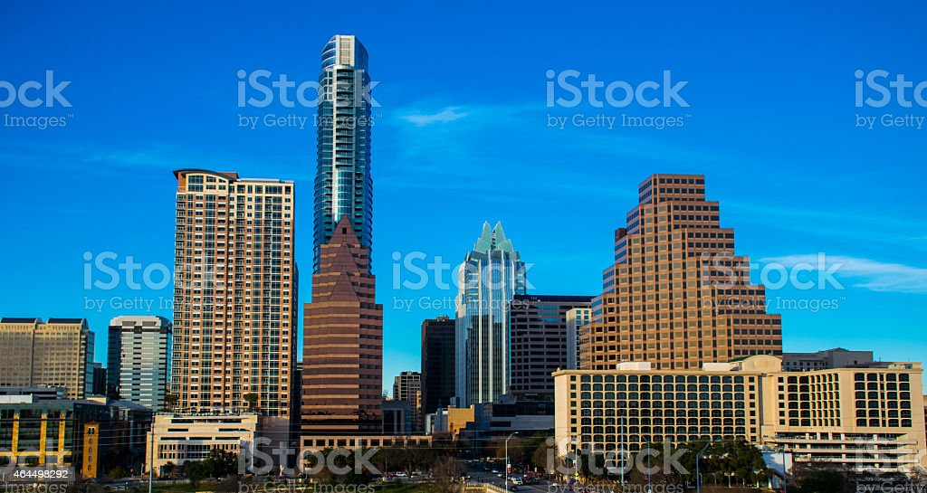 Overlooking Central Texas Austin Cityscape Skyline from Above stock photo
