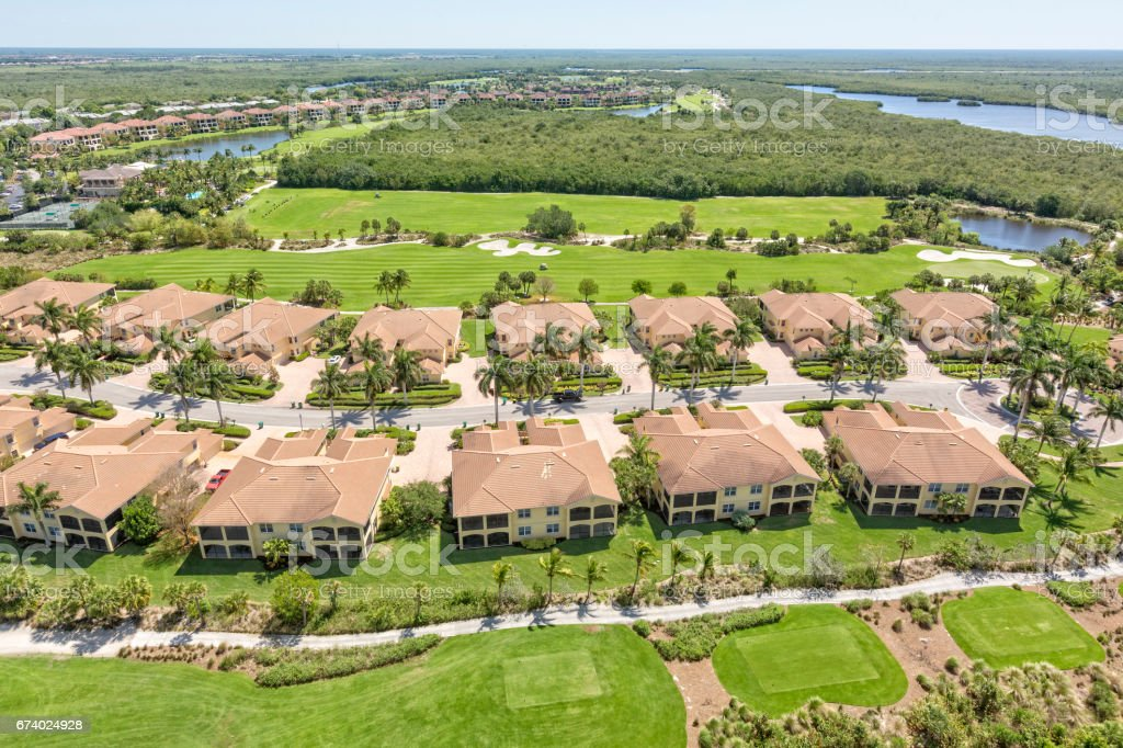 Overlooking Condominiums and Golf Course in Florida royalty-free stock photo
