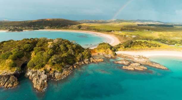 Overlooking Crescent Shaped Maitai Bay and Sandy Beach, Northland New Zealand. stock photo