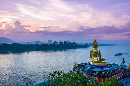Overlooking Golden Triangle and Mekong river in Thailand