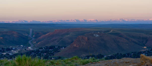 Overlooking Green River, Wyoming, with the Uinta Mountains in the background stock photo