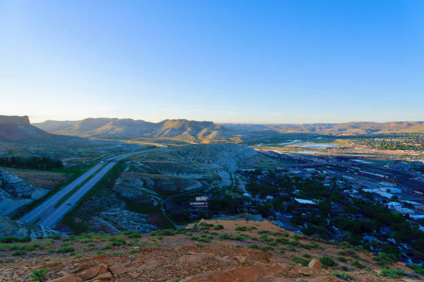 Overlooking Interstate 80 from above the Green River Tunnel stock photo