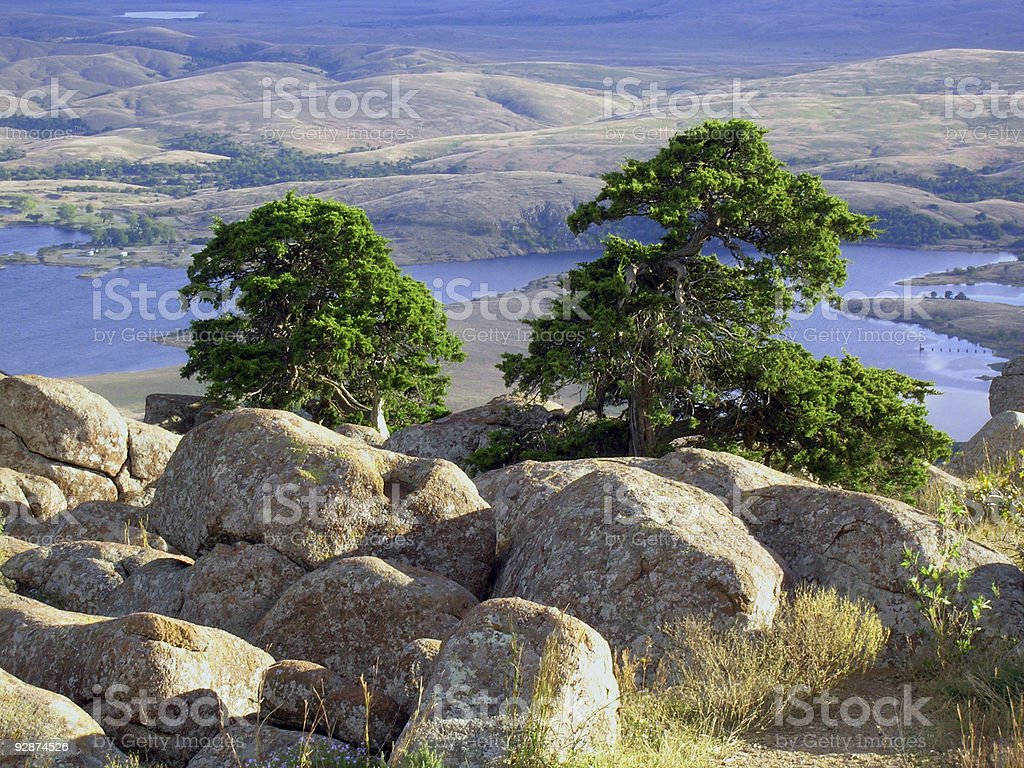 Overlooking Lake Lawtonka, Oklahoma stock photo