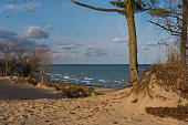 View of Lake Michigan from the sand dunes on a Autumn morning.  Indiana Dunes State Park, Indiana, USA
