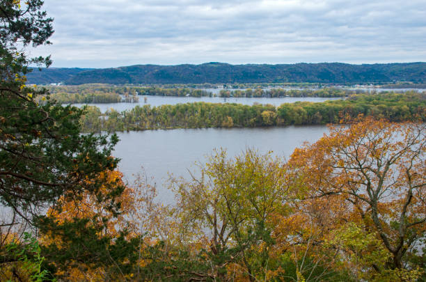 Overlooking Mississippi River From Effigy Mounds stock photo