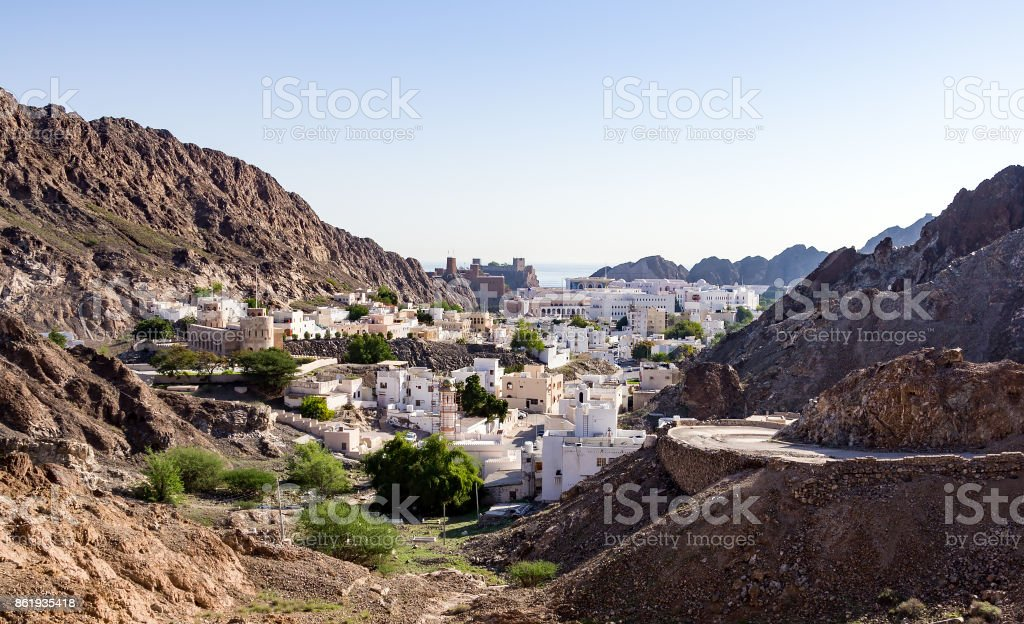 Overlooking of Muscat old Harbour area - Muscat, Oman stock photo