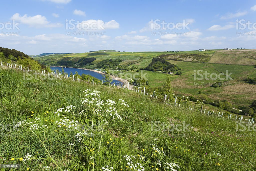 Overlooking Scammonden Dam in the rugged rural Yorkshire Moorland royalty-free stock photo