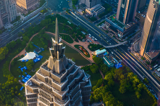 Overlooking the city center of Shanghai, China. Overlooking the city center of Shanghai, China. jin mao tower stock pictures, royalty-free photos & images