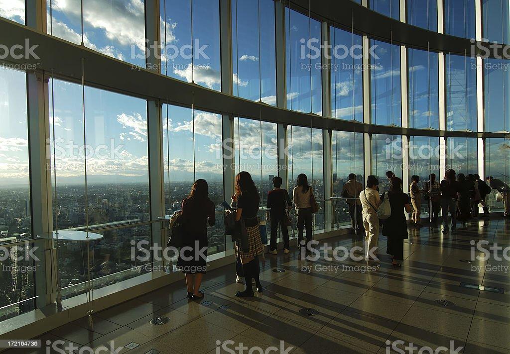 Overlooking the city stock photo