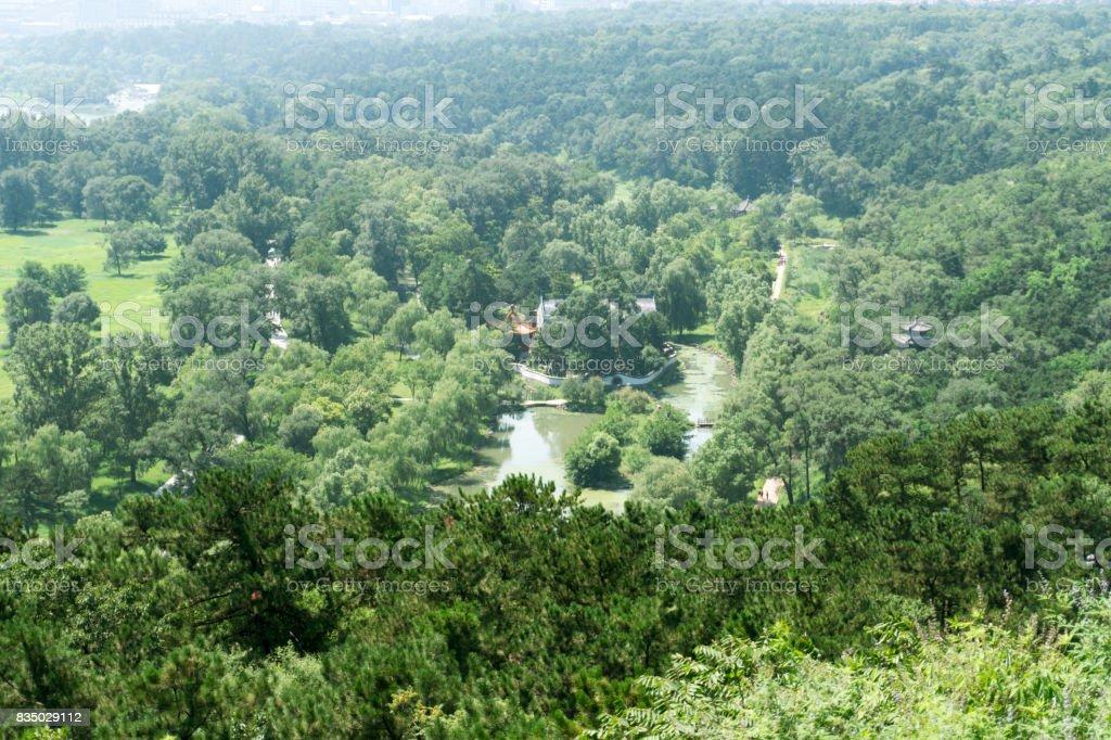 Overlooking the garden landscape in chengde summer resort park stock photo