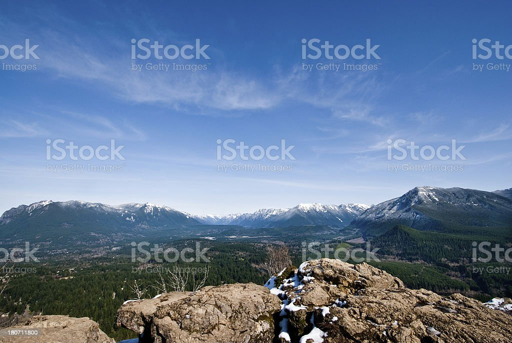 Overlooking the Snoqualmie Valley and Cascade Range stock photo