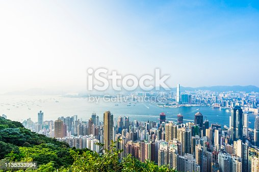 aerial view of victoria harbor with many iconic landmarks and skyscrapers with high rise apartment blocks towards Kowloon view,Hong Kong,China.