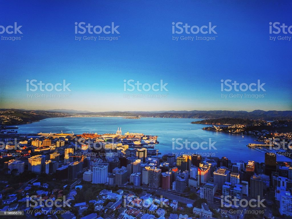 Overlooking Wellington Harbour Overlooking Wellington Harbour before sunset, taken by my drone Built Structure Stock Photo