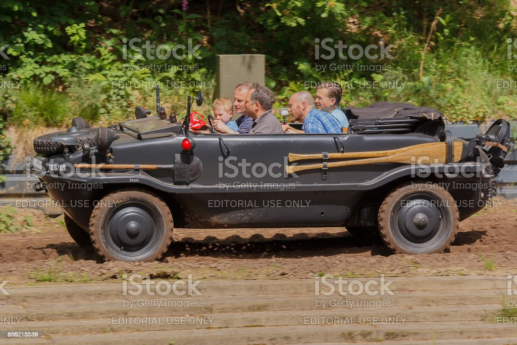 Overloon, Netherlands May 21, 2017: VW Typ 128 Schwimmwagen at Militracks event stock photo
