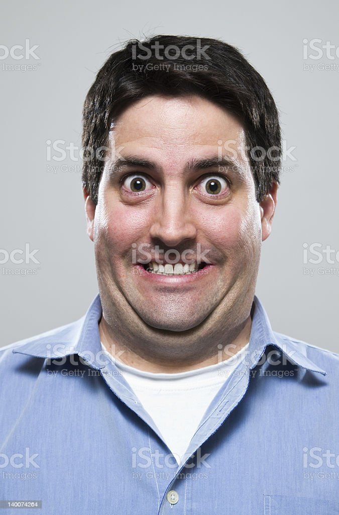 Overly excited man stock photo