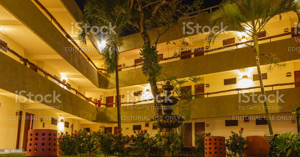 Overnight at Casa del Mar Hotel, interior view. This hotel is located very close to the Cruise Ship peers stock photo