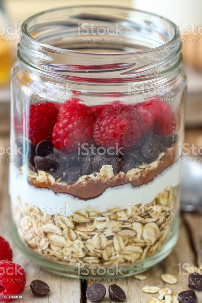 Overnight Oats with Raspberries and Chocolate Chips stock photo