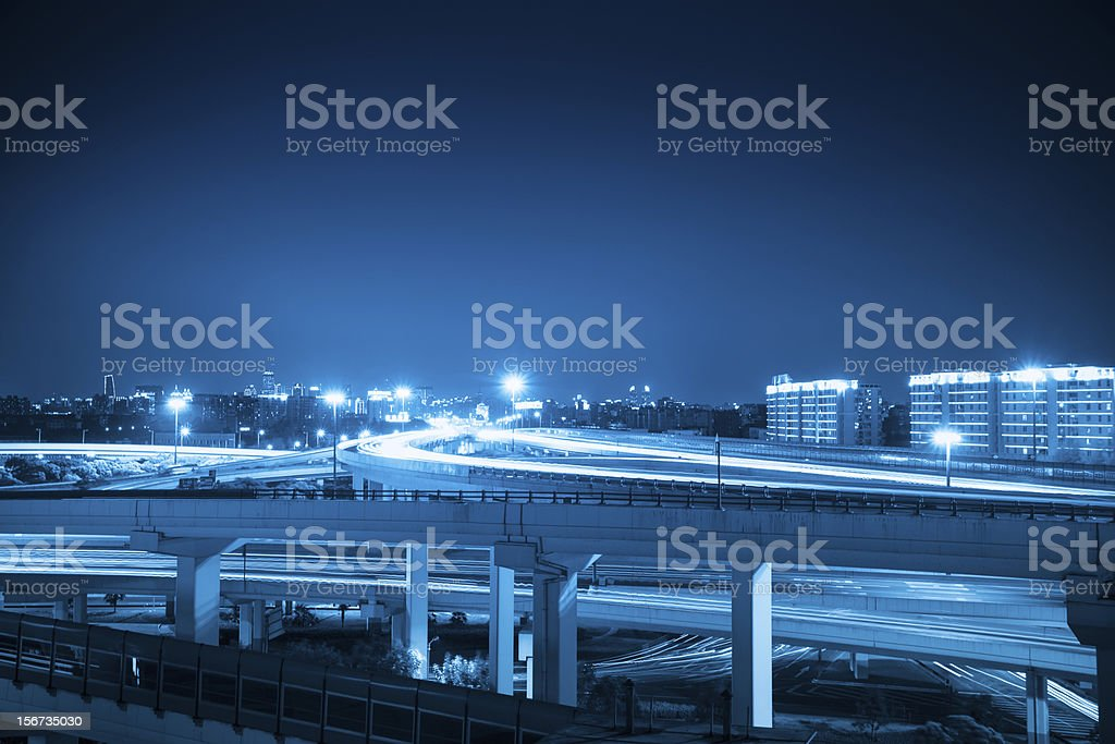 overpass at night in shanghai royalty-free stock photo