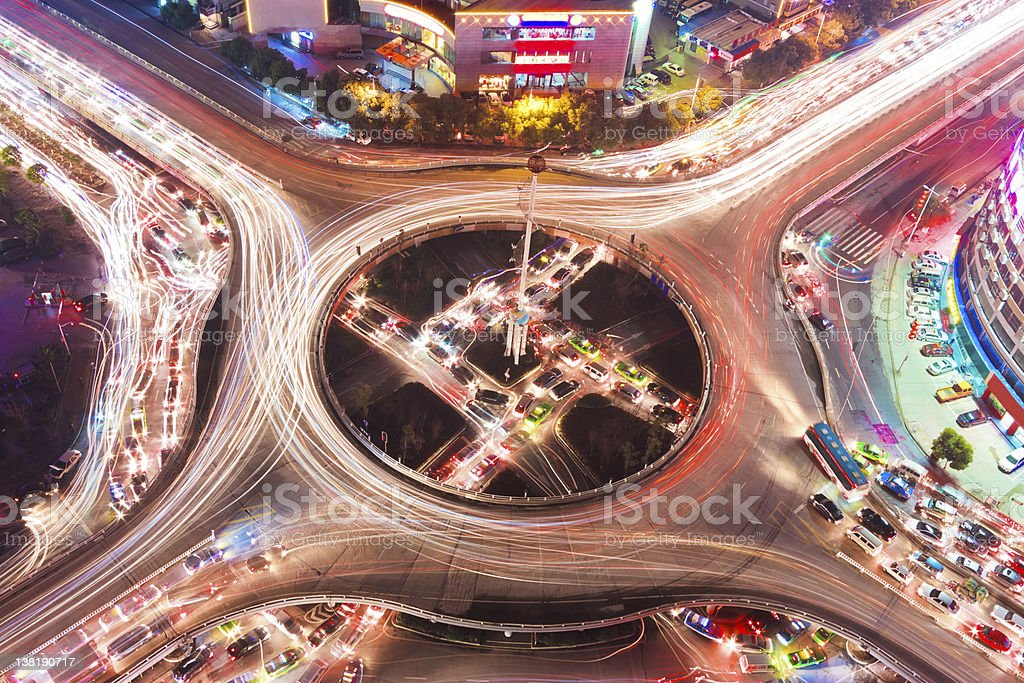 Overpass of the light trails, beautiful curves royalty-free stock photo