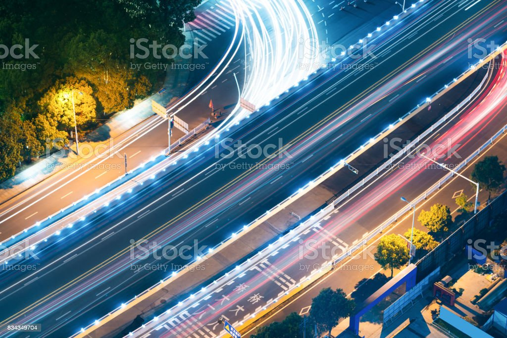 Overpass of the light trails, beautiful curves. stock photo