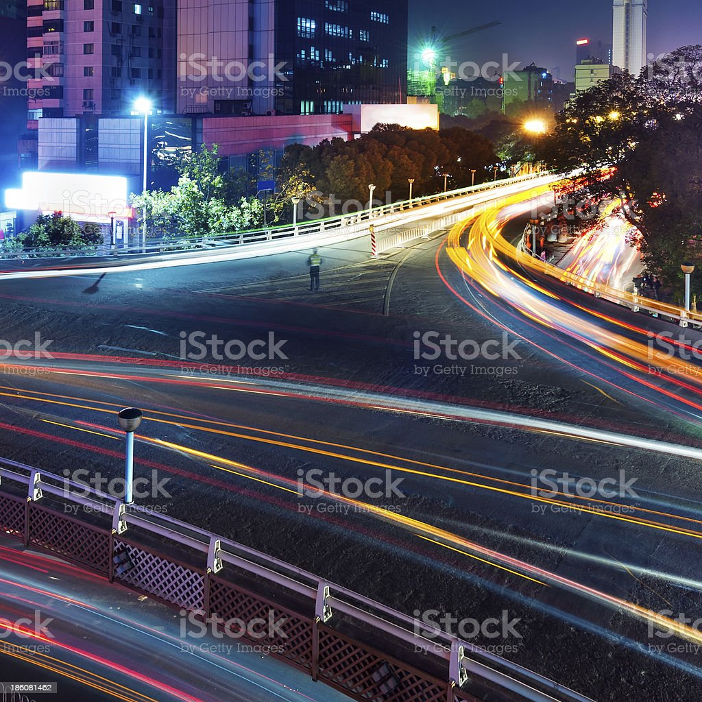 Overpass of the light trails stock photo