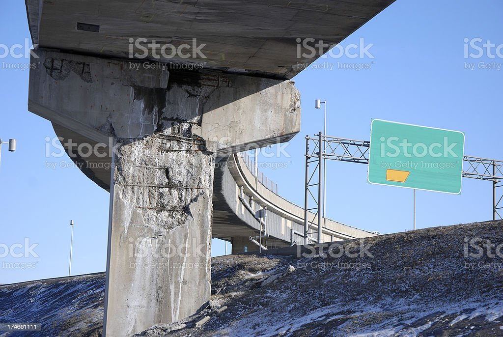 Overpass support in bad condition. royalty-free stock photo