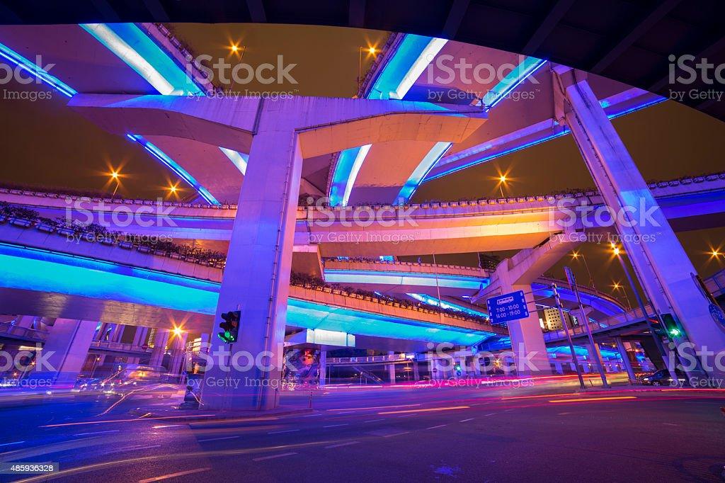Overpass traffice in night stock photo