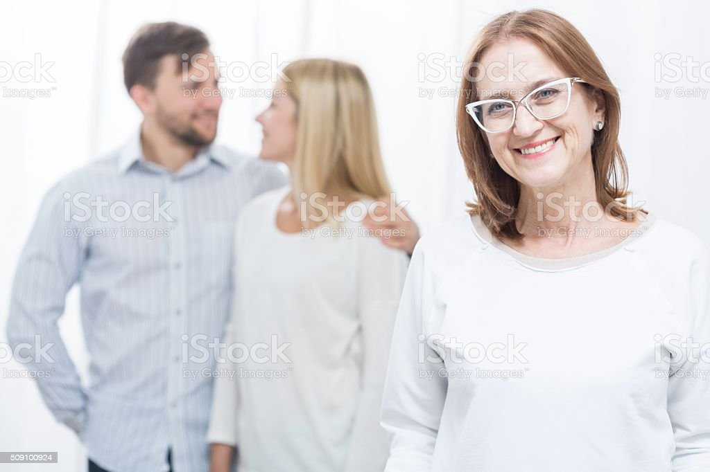 Overprotective mother-in-law stock photo