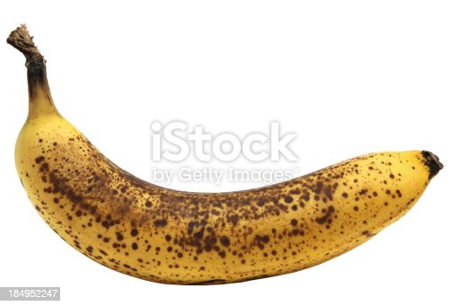 Overripe banana isolated on white